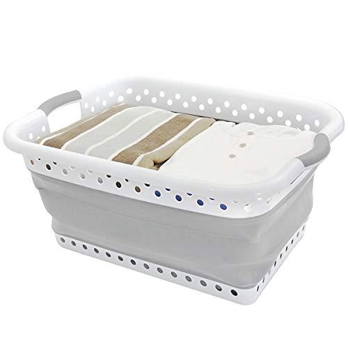 MIFIRE Portable Plastique Panier à Linge avec poignées, Pliable Organiseur de Rangement Panier Compact