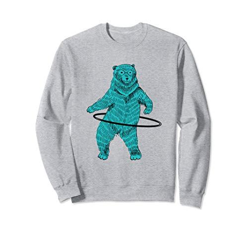 Hula Hooping Hoop Dancing Blue Hipster Bear Art Sweatshirt