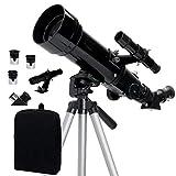 WUAZ Alcance 70 mm Viajes - telescopio Refractor portátil - Totalmente óptica revestida de Vidrio - Telescopio Ideal para Principiantes - 3 Oculares (20mm, 10mm y 4mm)