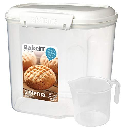N\C 1240ZS KLIP IT Recipiente de Almacenamiento para panadería con Taza, 2,4 L, Blanco