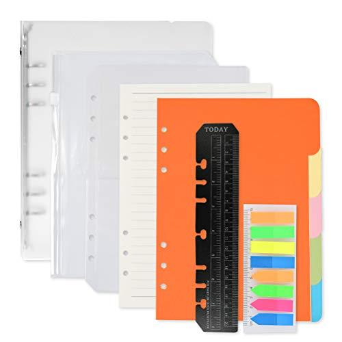 FOCCTS Juego de 9pcs Hojas de Papel de Recambio A5 Punteadas Hojas de Recambio para Cuadernos Diarios Planificador Calendario DIY Scrapbooks
