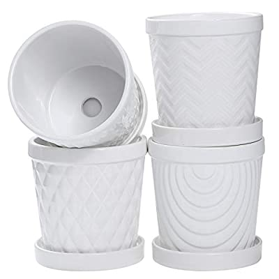 CHU KE Plant Pots - 5.1 Inch Cylinder Ceramic Planters with Connected Saucer, Pots for Succuelnt and Little Snake Plants, Set of 4, White