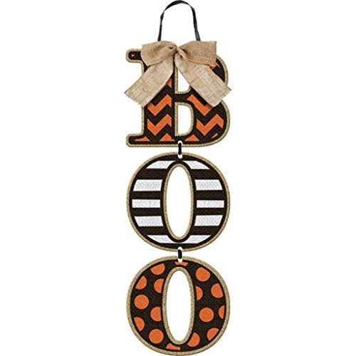 """""""Boo"""" Halloween Wall Sign - Hanging Wood Letters with Burlap Bow"""