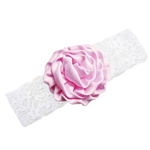 Merssavo Couleur de Rose Mode Mignon Bébé Filles Cheveux Bande Dentelle Rose Fleur Enfants Bande De Cheveux