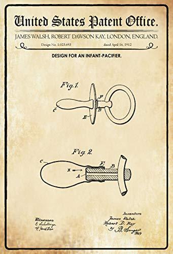 FS Patent ontwerp voor fopspeen Walsh-Kay metalen bord bordje gewelfd Metal Sign 20 x 30 cm