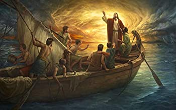 David Textiles from Fear to Faith Jesus in Boat 36 X 44 Panel Cotton Fabric