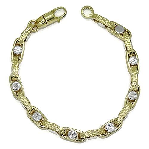 Pulsera para hombre de oro amarillo y oro blanco de 18k con cadena forzada con greca y detalle de tornillo. 12.20gr de oro de 18k