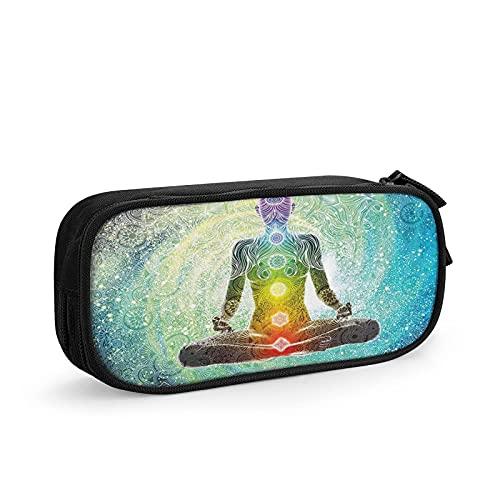 Estuche para lápices de yoga, mandala, meditación, chacra, hippie, con cremallera, duradero, organizador portátil, para escuela, oficina, adolescentes, niños y niñas