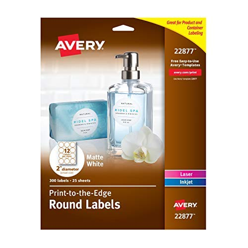 Avery 2 Inch Round Labels with Sure Feed for Laser & Inkjet Printers, 300 Labels (22877)