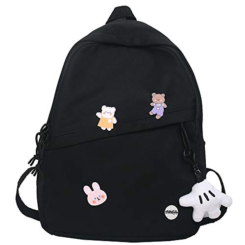 College Female Cute Backpack Badge Women Harajuku School Bag Kawaii Book Fashion Lady Backpack Waterproof Nylon Bag Girl Student (Color : Black, Size : with paw Pendant)
