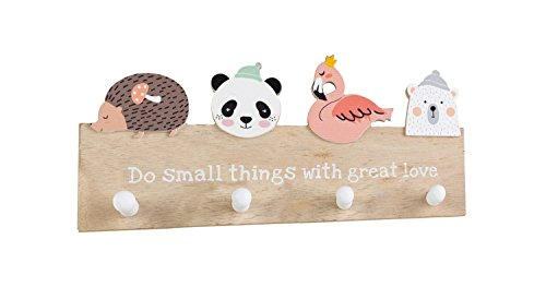 Kindergarderobe Garderobenpaneel Wandgarderobe Holzgarderobe für Kinder | Holz | Bunt | mit Tiermotiven | 4 Kleiderhaken