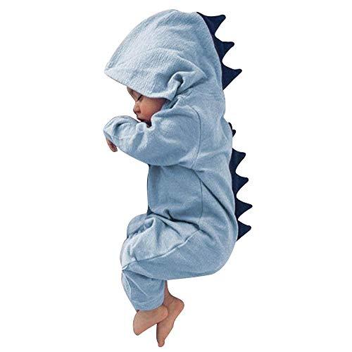 Dehots Baby Kleidung Jungen Mädchen Strampler Overall Jumpsuit Kleinkind Bodysuits Outfits Einteiler Jacke 0-18 Monate Neugeborenen Schlafstrampler Säugling, Blau, 3-6 Monate
