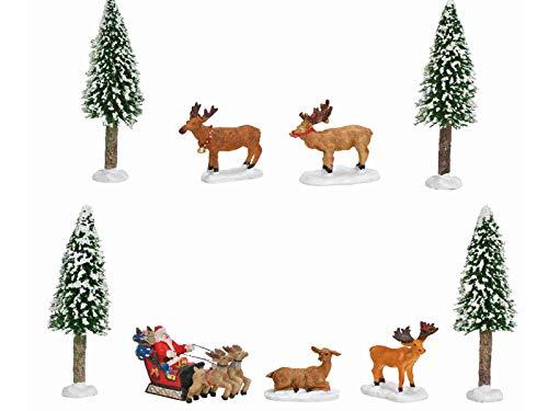 meindekoartikel Miniatur Winterszene Lichthaus Winterwelt 9-teiliges Deko-Set Bäume, Elche & Weihnachtsmann aus Poly Kunststoff (bunt) Höhe 5-13cm