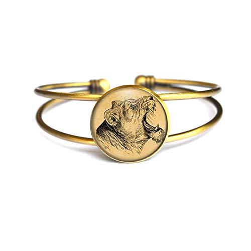 Pulsera de león antiguo brazalete gato joyería animal, brazalete para hombre, pulsera de león, regalo de la naturaleza, N377