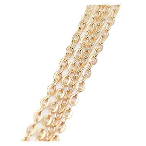 WEIGENG 5 m/lote de 2 x 3 mm color negro y bronce cadenas de latón a granel para la fabricación de accesorios de joyería (color: oro rosa)