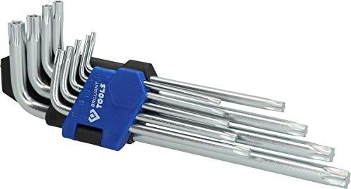 Brilliant Tools BT045009 Jeu de clés 6 pans Courtes à tête sphérique. 9 pcs, Bleu/Noir