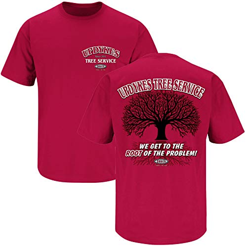 Smack Apparel Alabama Football Fans. Updyke's Tree Service Crimson T-Shirt (S-5X) (Short Sleeve, X-Large)