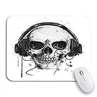 ECOMAOMI 可愛いマウスパッド ハンドスカルミュージックロックハロウィンブラシ悪魔描かれたスケッチノンスリップゴムバッキングマウスパッドノートブックコンピュータマウスマット