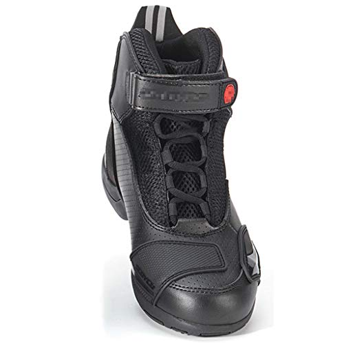 YMXYMM Herren Motorradstiefel Racing Armored Protection Scooter On-Road Boot Komfortable Kurze Stiefeletten Atmungsaktive Fahrradstiefel Motorradschuhe,Black-45