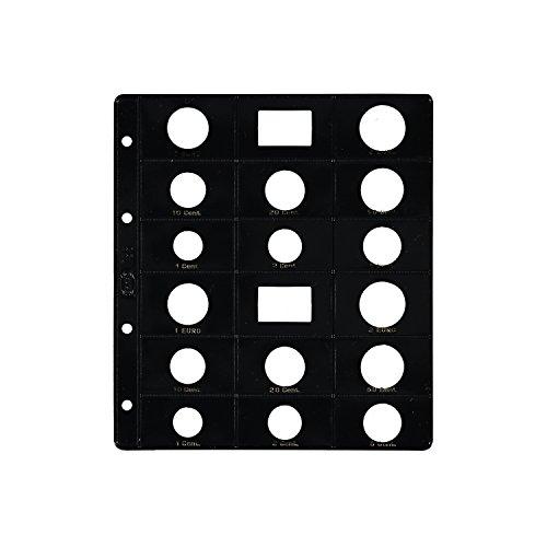 Pardo 75500 - Funda Opaca para Album de Monedas Euro, Negro, Paquete de 6