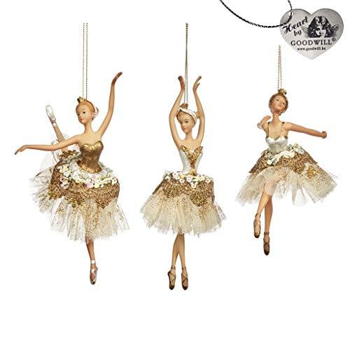 Goodwill: Hängeornament aus Kunstharz, Spitze und Stoff, Fee, Ballerina, 18 cm, cremefarben / goldfarben, 3 Stück