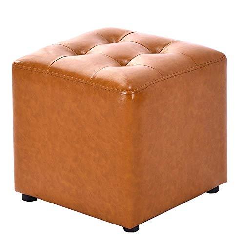 Zitzak, voetensteun, modern, eenvoudig, voor thuis, frame van massief hout, vulling van schuimstof, hoge dichtheid, comfortabel, ademend, waterdicht, duurzaam, 36 x 36 x 33 cm Geel.