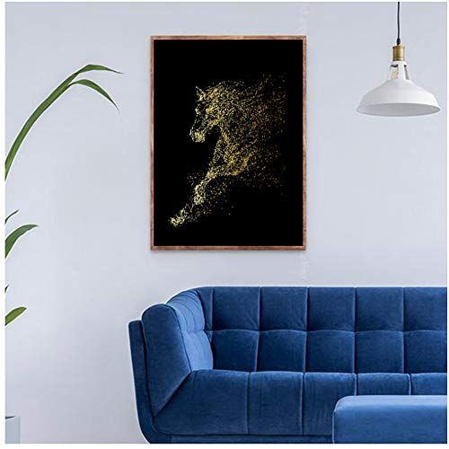 Arte abstracto de animales Golden Running Horses Pintura en lienzo Imágenes de arte de pared para la sala de estar Arte abstracto moderno Impresiones Carteles 40x60cm (16x24in)