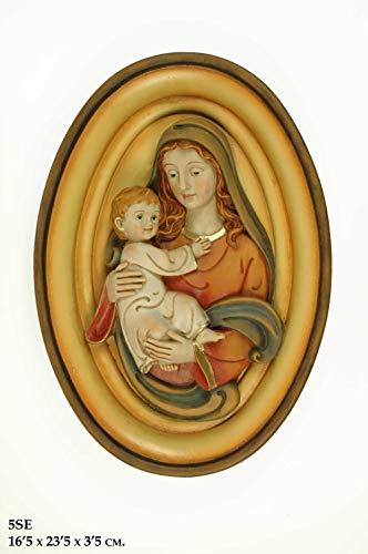 CAPRILO Figura Pared Decorativa Religiosa de Resina Virgen con Niño Jesús. Adornos y Esculturas. Decoración Hogar. Regalos Originales. 16,5 x 12,5 x 3,5 cm. IB.