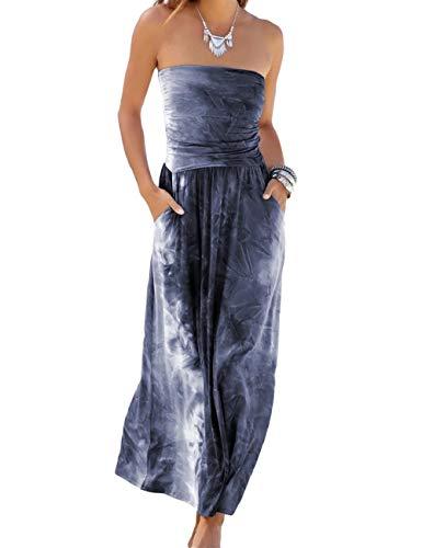 SEBOWEL Damen Maxikleid Sommer Boho Kleider Lang Bandeau Ärmelloses Sommerkleid Strandkleider Elegante Freizeitkleid CocktailKleider Abendkleid (M, Grau)