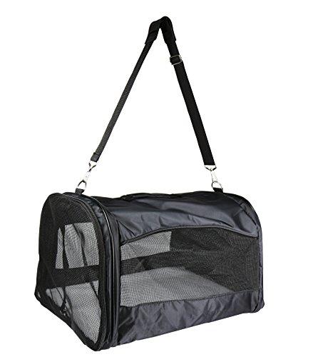 Cosy Life Transporttasche für Haustiere, faltbar, weiche Seitenteile, 45 x 36 x 25 cm, Schwarz