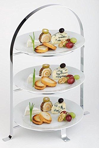 APS Serviergestell – hochwertige Etagere aus verchromtem Metall für 3 Teller mit einem Ø von max. 27 cm - Gesamthöhe 43 cm (Teller nicht enthalten)