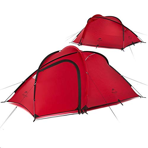 Mdsfe NatureHike New Hiby 3 Man Tent Outdoor 2 Room 3 Person 20D Nylon Silicone Ultralight Family Camping Tent red/gray-20D red