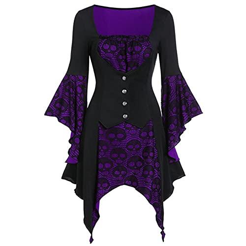 Halloween Vestidos corto para Mujer, Vestido Manga Larga Moda otoño Bruja gótico Punk Vestido de Noche primavera Vendaje Halloween Vestidos de Vestir noble Fiesta cosplay 2021 Vestidos