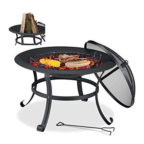 Relaxdays Feuerschale, D: 73 cm, mit Grillrost, Funkenschutz, Schürhaken, Feuerstelle Garten, Feuerkorb Stahl, schwarz