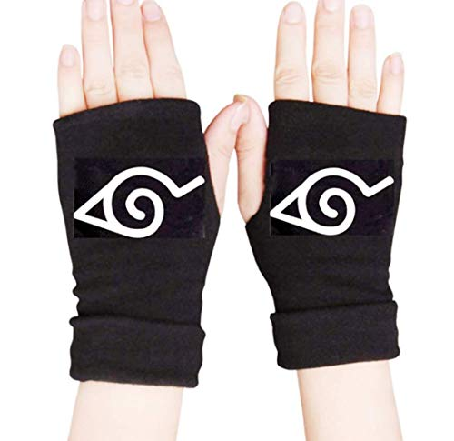 Comfortable Anime Ninja gloves MUEKA fingerless gloves Cosplay Gloves Sports Winter Mitten Leaf Village Logo Ninja Kakashi solid Gift for Anime Fans