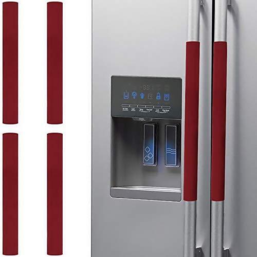 Suntric Couvercle de poignée de porte de réfrigérateur, couvercle de protection antidérapant pour ustensiles de cuisine, Couvercle anti-poussière, couvercle anti-taches propre, 4 pièces (rouge)