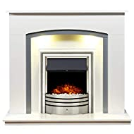 Adam Tuscany Fireplace in Pure White & Grey with Astralis 6-in-1 Electric Fire in Chrome, 48 Inch