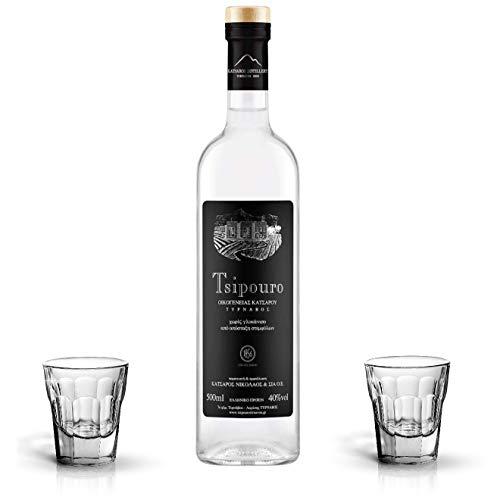Premium GRAPPA Tsipouro | Raki aus Griechenland | TRESTERBRAND ohne Anis | 2 x Schnaps Gläser | MILD | Spirituosen ohne Zucker | Geschenk set | 700ml Glas Flasche