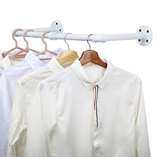 WEBI Clothing Rack Wall Mount24#039#039 Industrial Pipe Clothes Rack for Hanging ClothesHeavy Duty Iron Garment Rack BarRetail Display Clothes Rod for ClosetLaundry RoomWhite