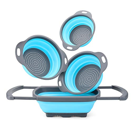 Glotoch Silicone Collapsible Colander Set of 4-Includes 1pc 6 Quart Over the Sink Strainer, 2pc 4 Quart and 1pc 2 Quart Round Folding Strainers.Dishwasher-Safe,BPA Free (Blue&Grey)