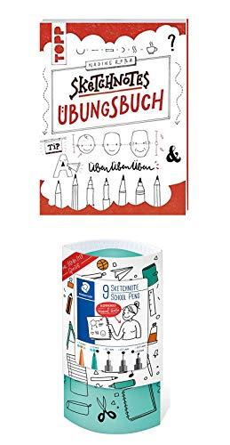 Sketchnotes Buch + Stifte Sketchnotes Starterset - Sketchnotes Übungsbuch und 9 Sketchnote Stifte School Pens