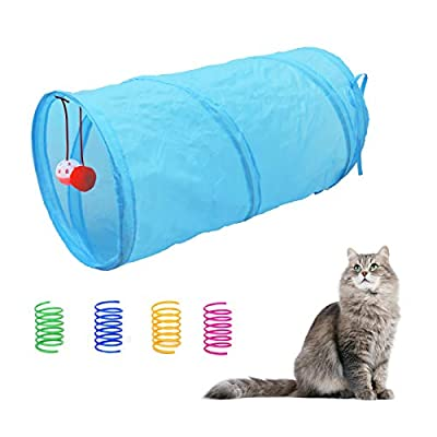 Andiker Cat Tunnel & 4 Cat Spring Toys, Collapsible Cat Toys for Indoor Cats Interactive Sound Paper Cat Cute Tube Toy with a Bell Toy & a Soft Ball, Colorful Spiral Springs for Cat, Rabbits (Blue)