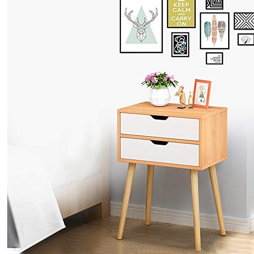 Swyss Side End Table Nightstand with 2 Drawers Storage...