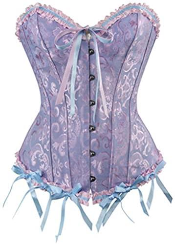 Sysyrqcer Bustier de Las Mujeres Corset MÁS TAMAÑO Floral Recorte Corte Arriba Arriba FINADA Overbust CORRSET Cintura DE Corset (Color : Blue, Size : X-Large)