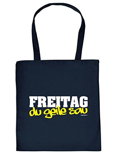 Lässige Shopping-Tasche/Stofftasche mit Motiv: Freitag du geile Sau Goodman Design