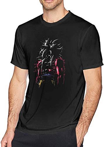 Dragon Ball Z Jiren Vs Goku Red Blue Flames Mens tee Casual Short Sleeve T-Shirt Black,Goku SSJ 4,X-Large