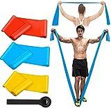 Kuyang Bandas Elasticas Fitness, 3 Piezas 1.5M/1.8M/2.0M Bandas de Resistencia con 3 Niveles , Cintas Elasticas Fitness para Yoga, Pilates, Crossfit, Estiramientos, Muscular, Piernas, Brazos, Fuerza
