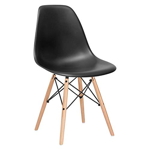 Modern Mid-Century Side Chair with Natural Wood Legs for Kitchen, Living Room and Dining Room, Plastic Chair for Kitchen- Black