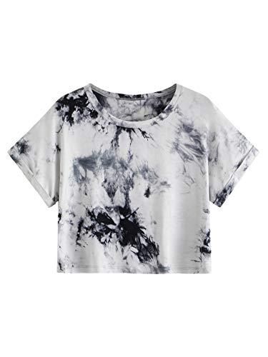 SweatyRocks Women's Casual Round Neck Short Sleeve Tie Dye Crop Top T-Shirt Grey S