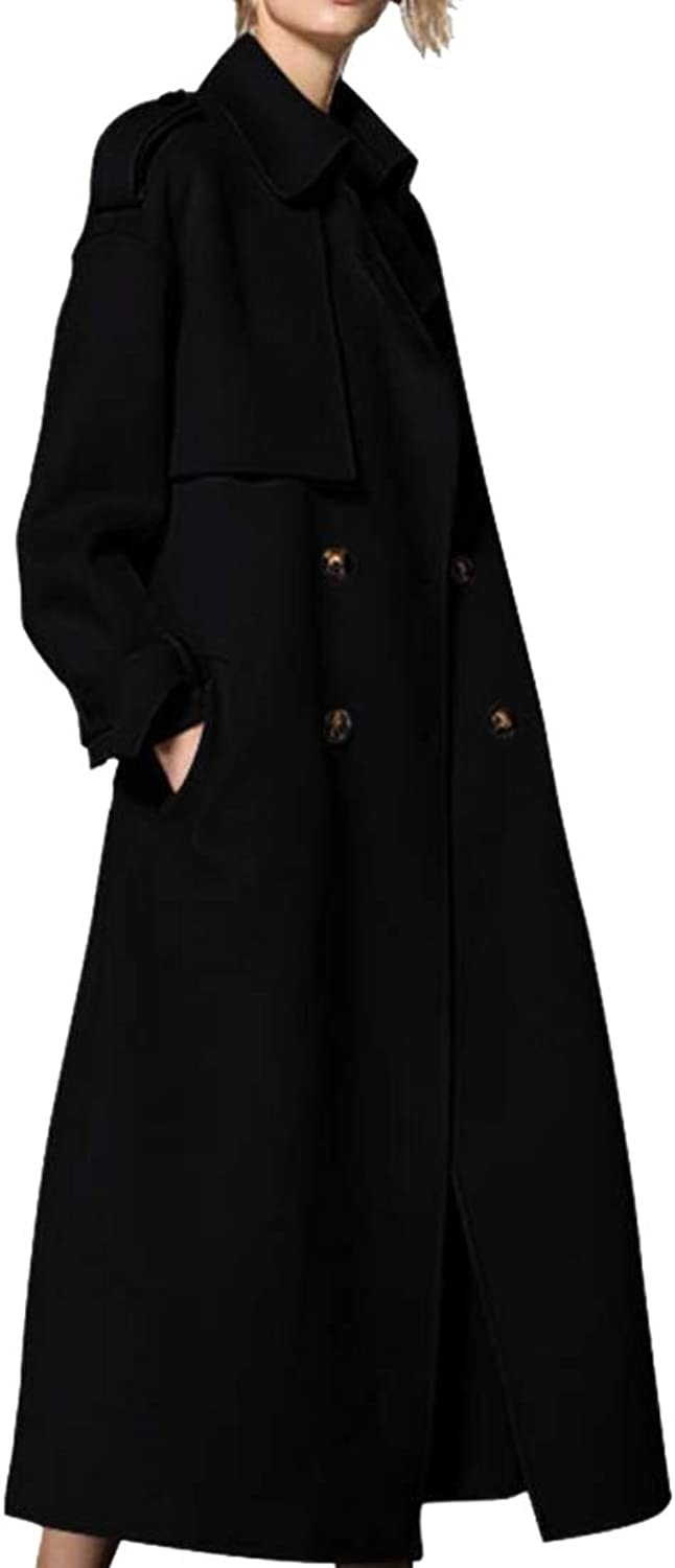 Esast Women's Long Sleeve Thicken Warm DoubleBreasted Long Trench Coat with Belt